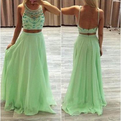Two Pieces Prom Dress,A-line Prom D..