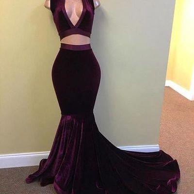 Simple two pieces mermaid long prom..