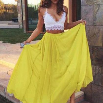 Two Piece Prom Dress,Yellow Prom Dr..