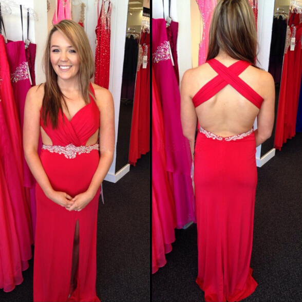Red Prom Dress, On Sale Prom Dress, Backless Prom Dress, Chiffon Prom Dress, Formal Prom Dress, Modest Prom Dress