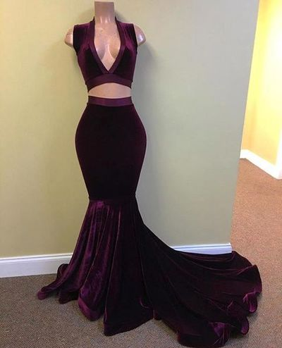 Simple two pieces mermaid long prom dress,mermaid evening dresses