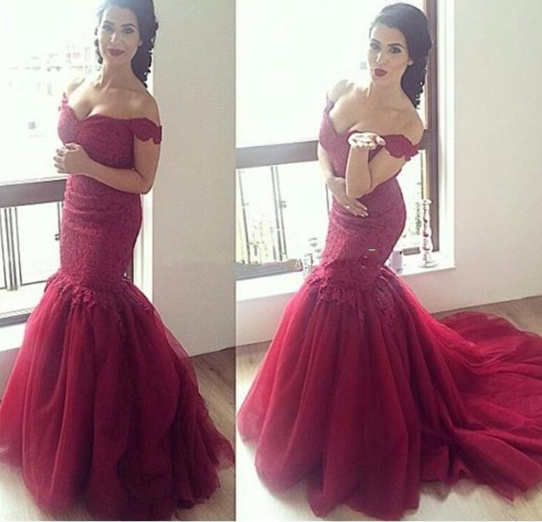 Burgundy Evening Dress, Burgundy Lace Prom Dress , Tulle Prom Dress,Off The Shoulder Burgundy Prom Dress, Sexy Mermaid Long Burgundy Party Dress, New Arrival Vintage Burgundy Lace Party Dress, Formal Party Dress , Sweep Train Pageant Runway Dress