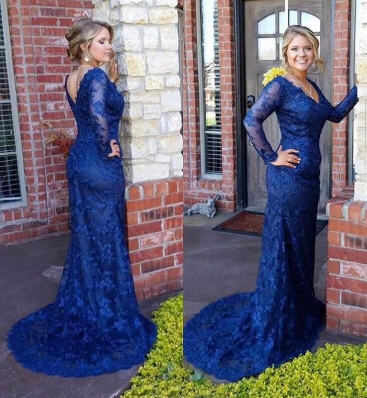 Royal Blue Prom Dresses, Long Prom Dress,Mother of the dress,Elegant Lace Prom Dresses, Sexy V Neck Mermaid Lace Prom Dress, 2018 Long Sleeve Evening Dresses, Formal Lace Evening Dresses Sweep Train, Illusion Sleeve Long Party Dress