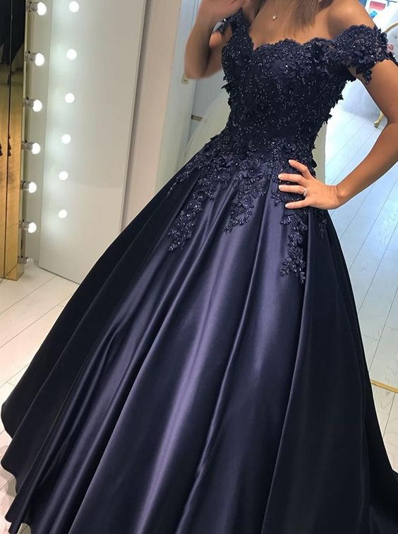 A-line Off-the-Shoulder Prom Dress, Sweep Train Prom Dresses, Navy Blue Prom Dress, with Appliques Beading Prom Dress