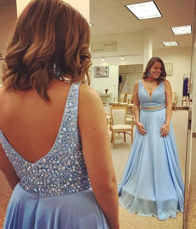 A-line V-neck Prom Dress, Blue Rhinestones Prom Dresses, Chiffon, Long Prom, Party Dresses, Plus Size