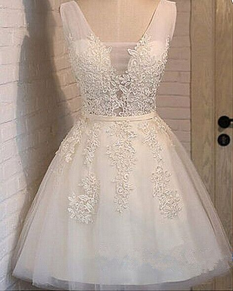 cute white a line applique bridesmaid dress,tulle homecoming dresses,women party dresses,lace up homecoming dresses