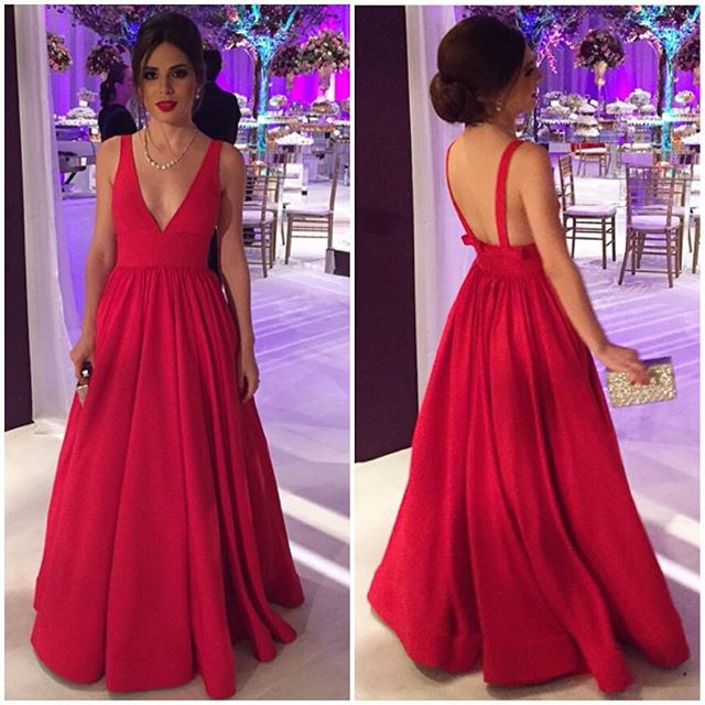 Red Plunge V Sleeveless Floor Length A-Line Prom Dress, Formal Dress