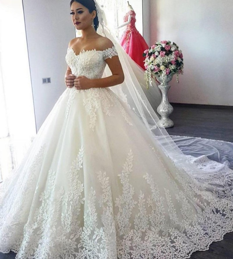 Lace Off-The-Shoulder Short Sleeves Floor Length Wedding Gown Featuring Train