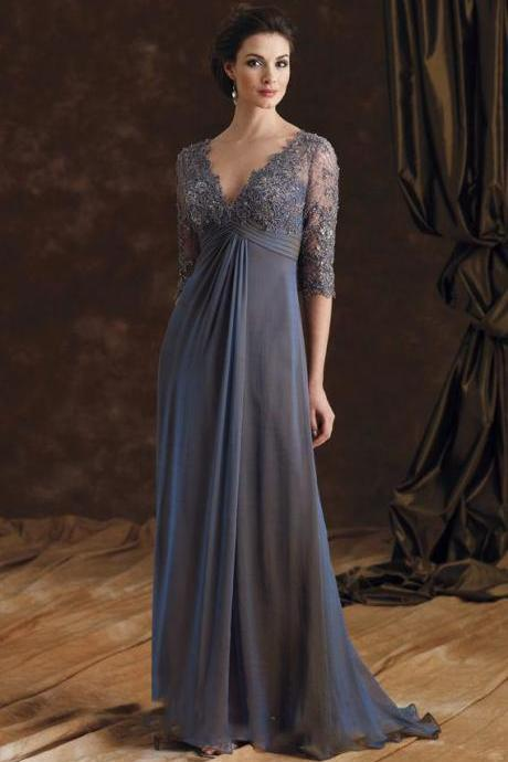 Sexy V Neck Grey Lace Long Mother Of The Bride Dresses, Half Sleeve A Line Chiffon Brides Mother Dresses, Plus Size Mother Of The Groom Dress, Formal Long Grey Mother Evening Prom Dresses, Elegant Grey Lace Mother Party Dress