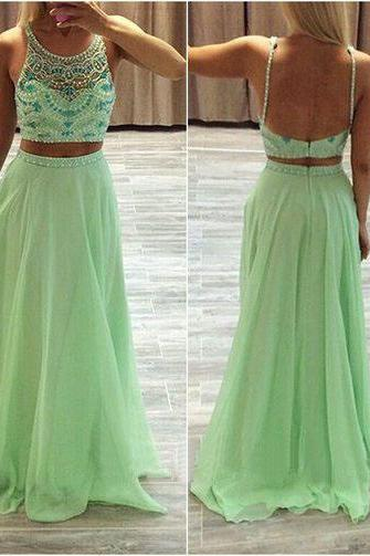 Prom Dress,Sexy Elegant Mint Green Low Back Beaded Two Piece Long Prom Dress With Straps,Cheap Prom Dress,Formal Dress, Sexy Gril Dress, Floor-Length Prom Dresses, Evening Dresses, Custom Dress
