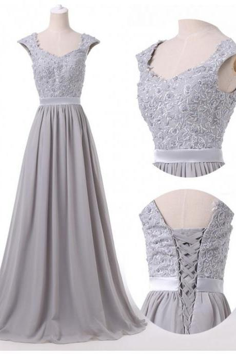Grey Floor Length Chiffon A-Line Prom Gown Featuring Floral Lace Appliquéd Cap Sleeves Bodice and Lace-Up Back
