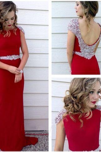Long prom dress, red prom dress, party prom dress, chiffon prom dress, cheap prom dress, sheath prom dress