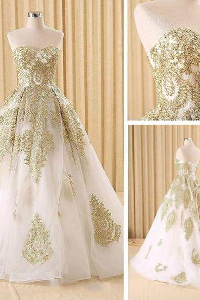 Elegant White and Gold Lace Prom Dresses,Ball Gown Evening Dresses,A-Line Evening Dresses,Sweetheart Long Prom Dresses,Evening Dresses