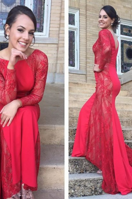 Red Prom Dresses,Lace Prom Dress,Sexy Prom Dress,Long Sleeves Prom Dresses,Charming Formal Gown