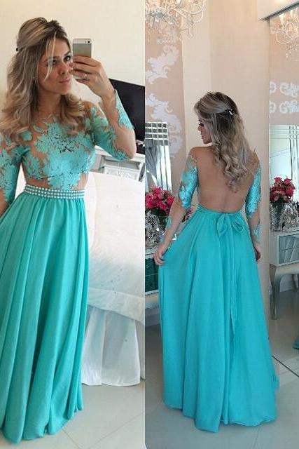 Blue Prom Dresses,Lace Evening Dress,Sexy Prom Dress,Backless Prom Dresses With Long Sleeves