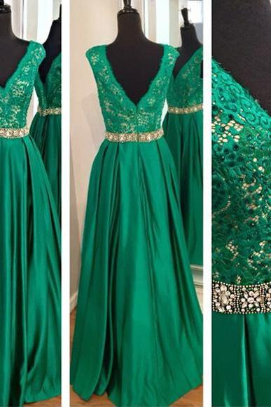 Green Prom Dresses,V Neckline Prom Dress,Sexy Prom Dress,Hunter Green Prom Dresses,Formal Gown