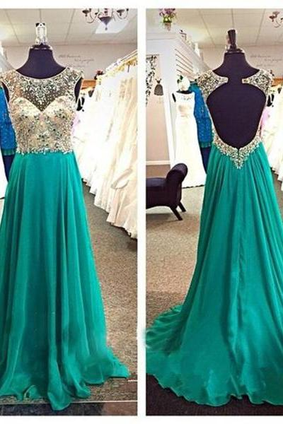 Backless Prom Dresses,Green Prom Gowns,Green Prom Dresses,Party Dresses,Long Prom Gown