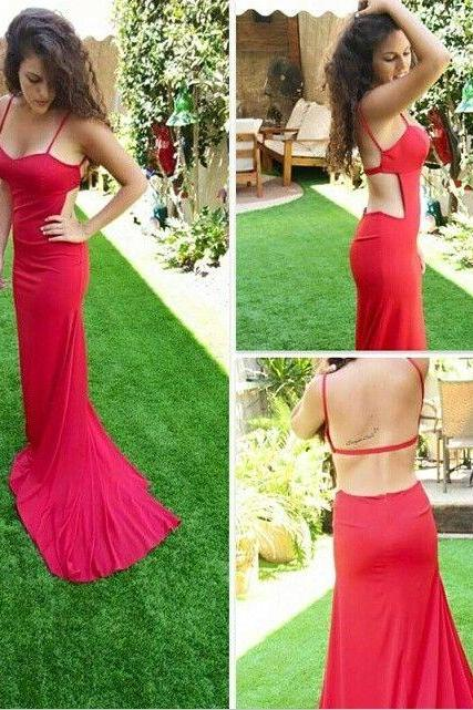 Sexy Prom Dresses,Red Prom Dress,Chiffon Evening Gown,Long Formal Dress,Prom Gowns