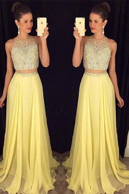2 Pieces Prom Dresses,2 Piece Evening Gowns,Simple Formal Dresses,Prom Dresses