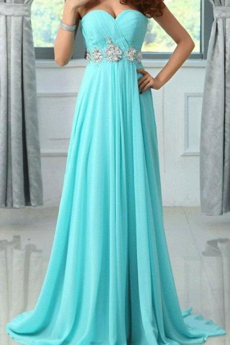 Custom Made Aqua Blue Sweetheart Neckline Chiffon Prom Dress with Floral Crystal beading