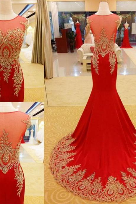 Red Prom Dress Mermaid Prom Dress Gold Appliques Prom Dress Luxury Prom Dress Handmade Prom Dress Long Prom Dress