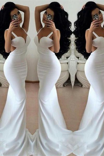 Mermaid Sheath Prom Dress,White Prom Dresses,Long Evening Dress