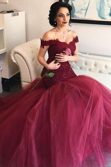 Burgundy Lace Formal Dress,Long Formal Dresses,Prom Dresses,Evening Dress, Prom Gowns, Formal Women Dress,prom dress