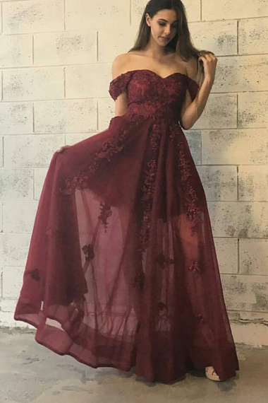 Trendy Off Shoulder Floor Length Burgundy Prom Dress with Appliques