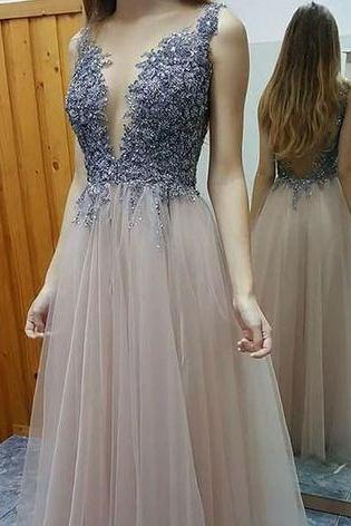 Charming Prom Dress,Tulle Prom Dresses ,V-Neck Prom Dress,Beading Prom Dress