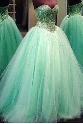 Charming Prom Dress,Tulle Prom Dress, Beading Prom Dress,Sweetheart Evening Dress
