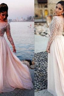 Long prom dress,rhinestone prom dress,long sleeve prom dress,chiffon prom dress,evening dress,cocktail dress
