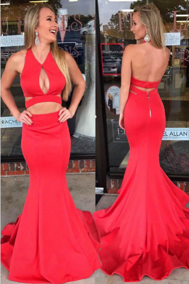 Special V Neck Keyhole Prom Dresses,Mermaid Backless Red Prom Dress