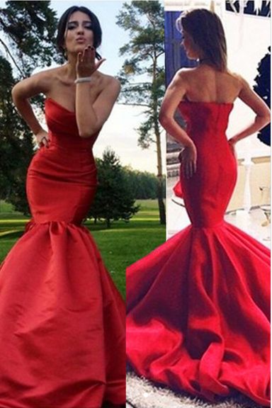 Fabulous Sweetheart Sweep Train Red Mermaid Prom Dress with Pleats