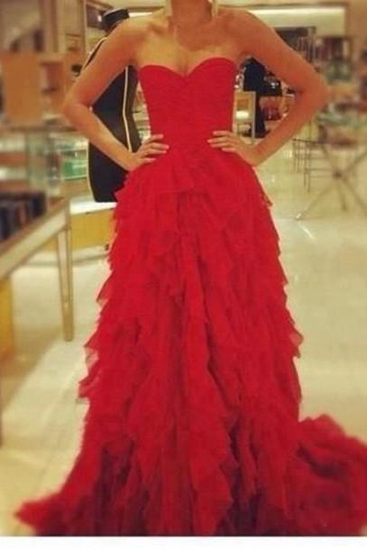 Custom Made Red Strapless Sweetheart Neckline Ruffled Chiffon A-Line Tulle Evening Dress, Prom Dresses, Wedding Dresses