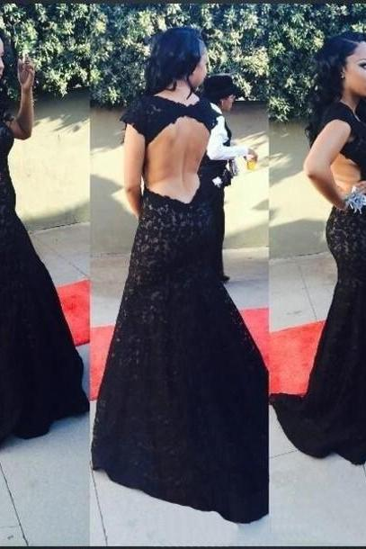 Lace Crew Neck Cap Sleeves Floor Length Mermaid Formal Dress Featuring Open Back, Prom Dress