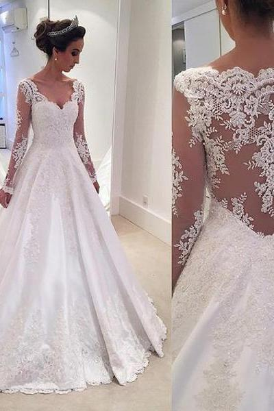 Wedding Dresses, Sexy Tulle Wedding Dresses, Backless Wedding Dress,Lace Bridal Dress