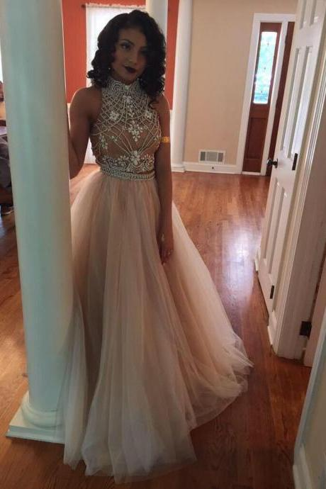 Prom Dress,Tulle Prom Dress,A-Line Prom Dress,High-Neck Prom Dress,Beading Prom Dress,Noble Prom Dress