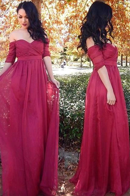 Prom Dresses,Cheap Ruffles Long Half-sleeve Off-the-shoulder Chiffon Evening Dresses
