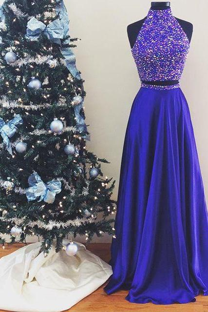 New Arrival Prom Dress,Modest Prom Dress,Halter Prom Dresses,Prom Dresses,Long Prom Gowns ,two piece prom dresses