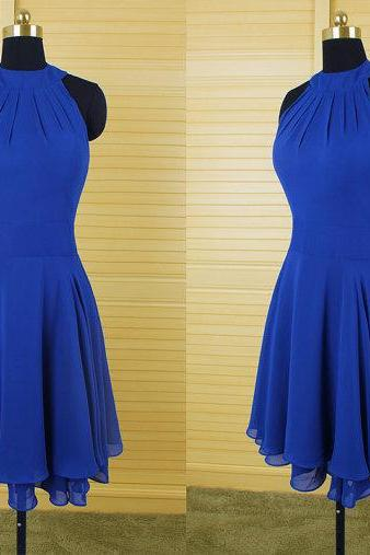 Royal Blue Chiffon Prom Dress,Short Prom Dress,Homecoming Dress