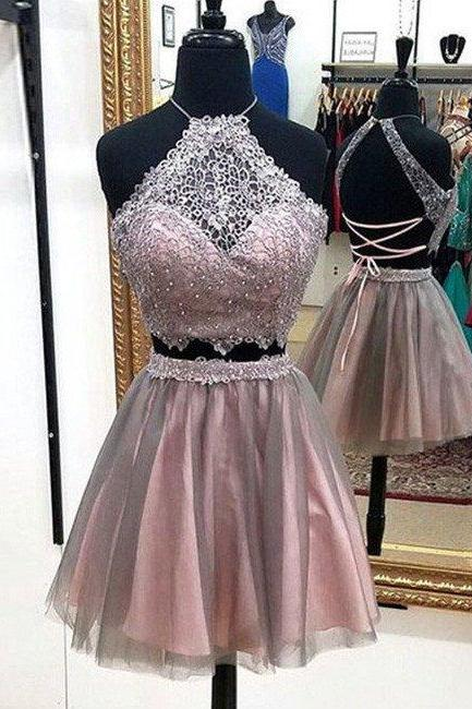 Two Piece Prom Dress,Tulle Prom Dress,Two Pieces Homecoming Dress,Short Homecoming Dresses, Backless Graduation Dress,Prom Party Dress