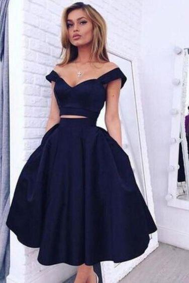 Custom Made Blue Off-Shoulder Two-Piece Short Cocktail Dress, Graduation Dress, Evening Dress, Homecoming Dress