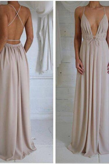 Charming Prom Dress,Chiffon Prom Dress,Long Prom Dresses,Sexy Backless Prom Dress