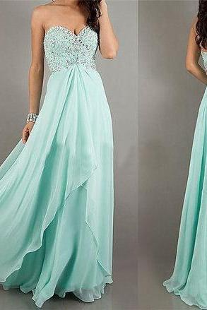 Mint Backless Prom Dress Long Evening Dress Beading Chiffon A-Line Sweetheart Floor Length Prom Cocktail Bridesmaid Evening Dress