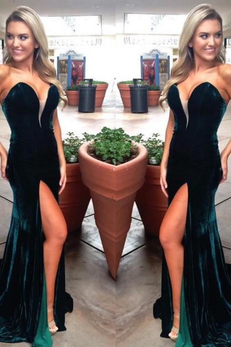 velvet Off Shoulder Evening Dress,Formal Emerald Green Evening Dress,long Evening Dress