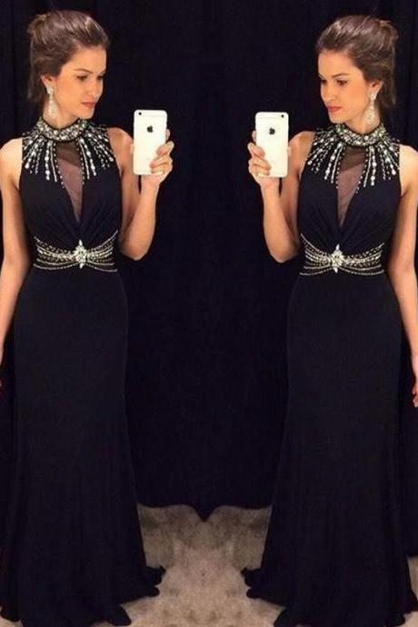 New Arrival Black Mermaid Prom Dresses High Neck Sleeveless Beading Chiffon Formal Gowns Sexy Party Cocktail Dress Beaded Chiffon Evening Dress