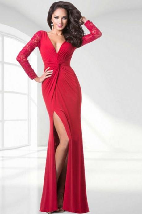 Slit Prom Dress, Long Sleeve Evening Dresses ,Sexy Mermaid Party Gowns Robe De Soiree, Long Red Evening Dresses,High Slit Chiffon Formal Gowns,Long Sleeves Prom Dress,Long Mermaid Prom Dress,V-neck Formal Gowns