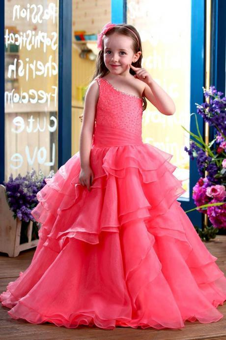 Coral A-Line Floor-Length One-Shoulder Ruffles Flower Girl Dresses Girls Party Prom Pageant Dress First Communion Dresses