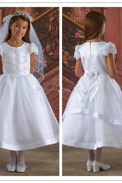 New White/Ivory Flower Girl Dress for Wedding Tea Length Girl Pageant Party Prom Dress First Communion Dresses