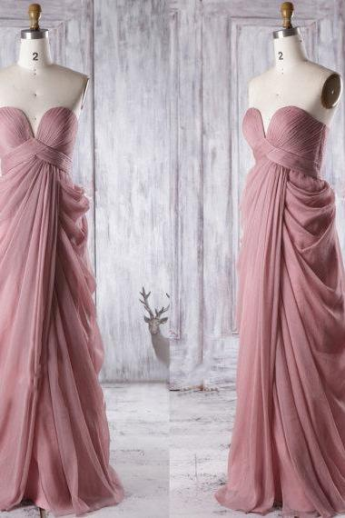 Sweetheart Bridesmaid Gowns with Gorgeous Ruffles, Chiffon Floor-length Empire Bridesmaid Dresses